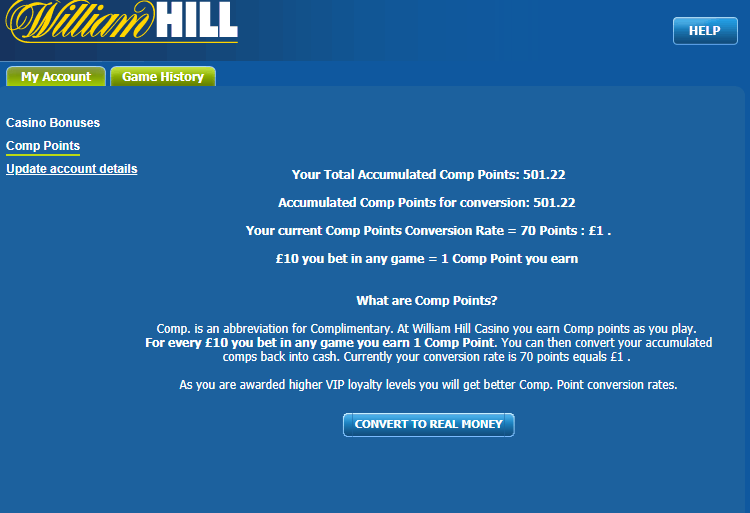 comp points amount William Hill casino picture
